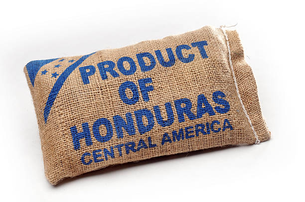 Burlap Sack with Central American Goods stock photo