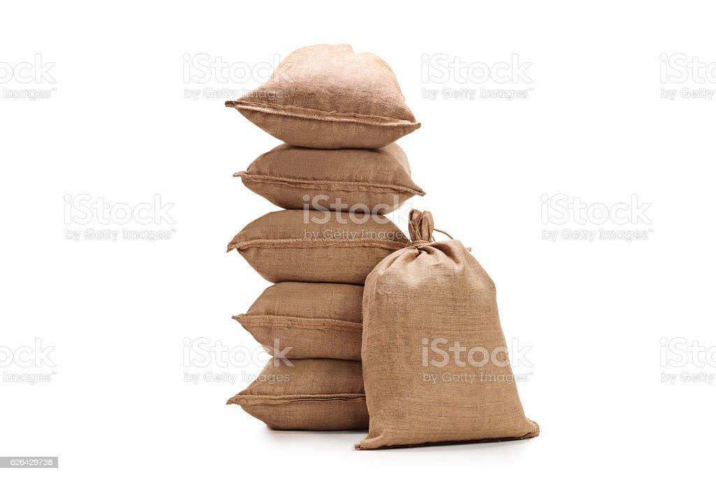 Burlap sacks stock photo