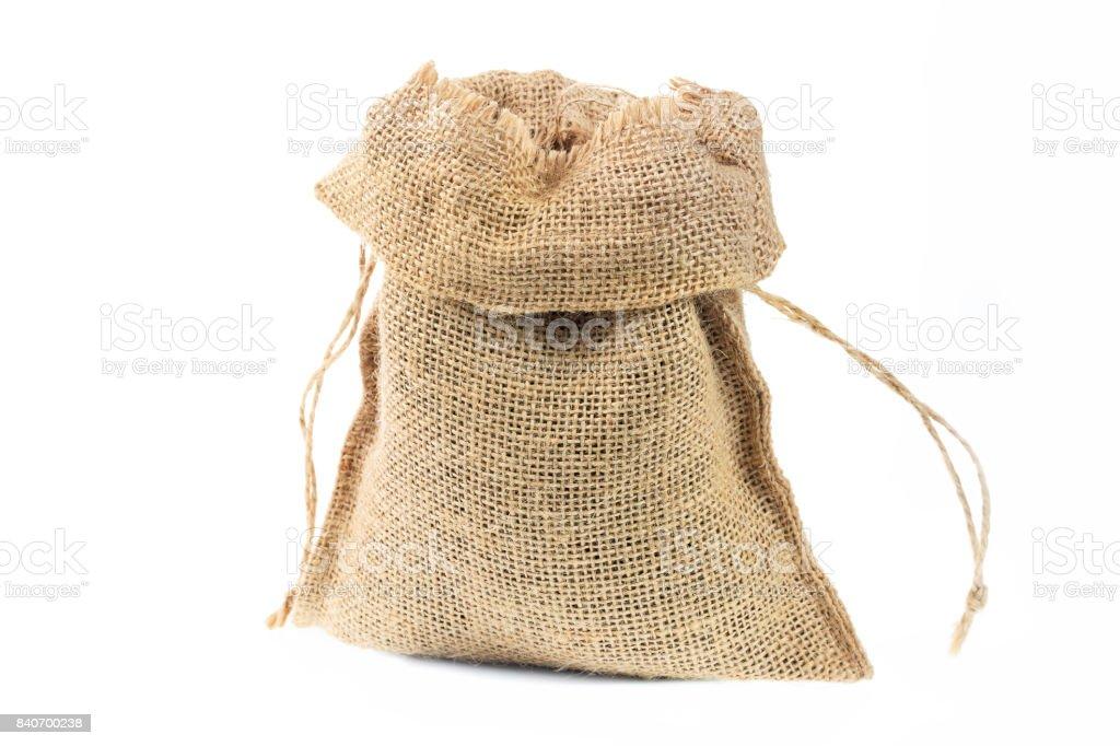 Burlap textile sack close up isolated on white background. stock photo