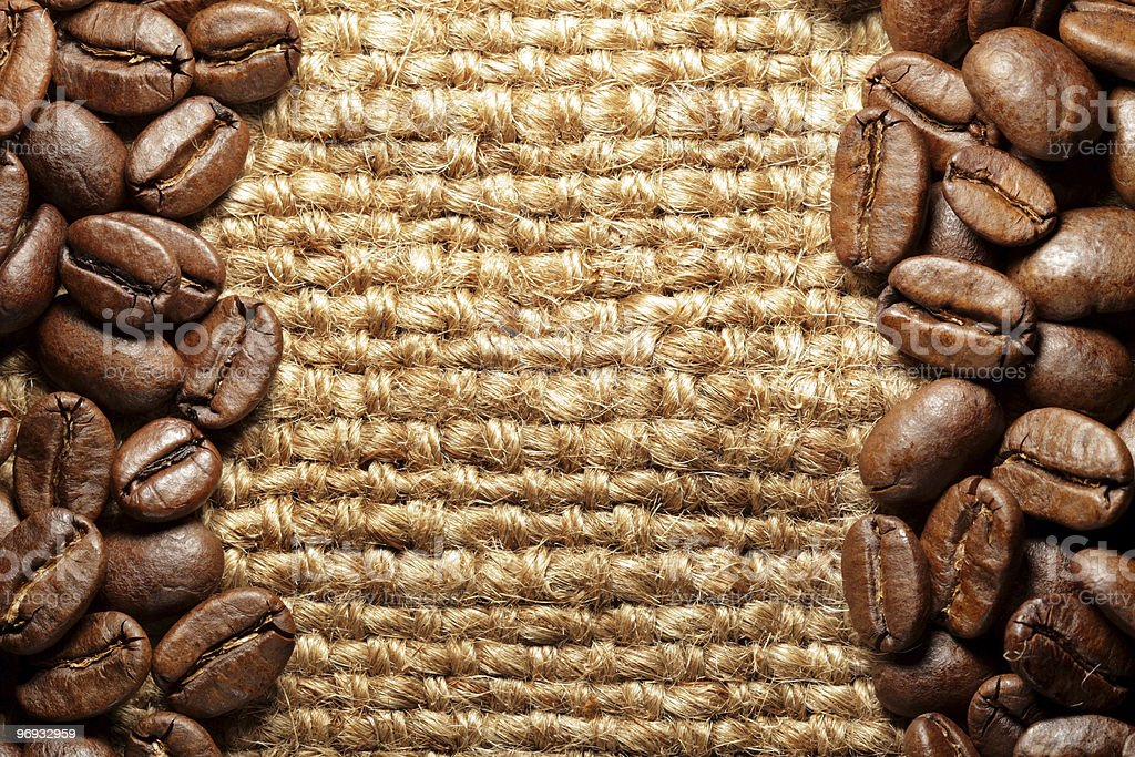 Burlap texture and coffee royalty-free stock photo