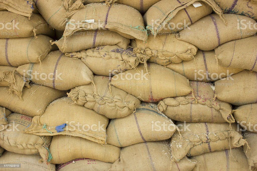 burlap_rice_bags royalty-free stock photo