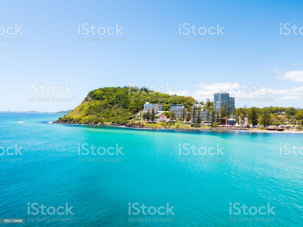 Burleigh Heads aerial photo on a clear idyllic day on the Gold Coast, Australia stock photo