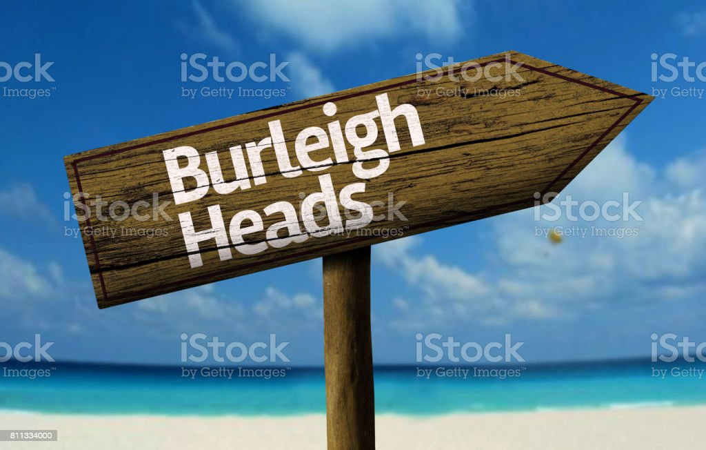 Burleigh Heads wooden sign on the beach stock photo