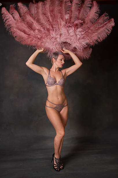 burlesque dancer holding feather fans up - burlesque stock photos and pictures