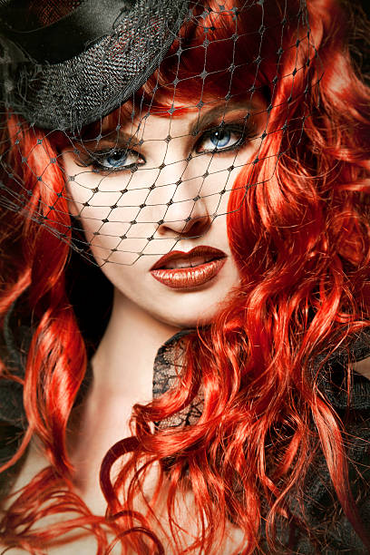 burlesque redhead - burlesque stock photos and pictures