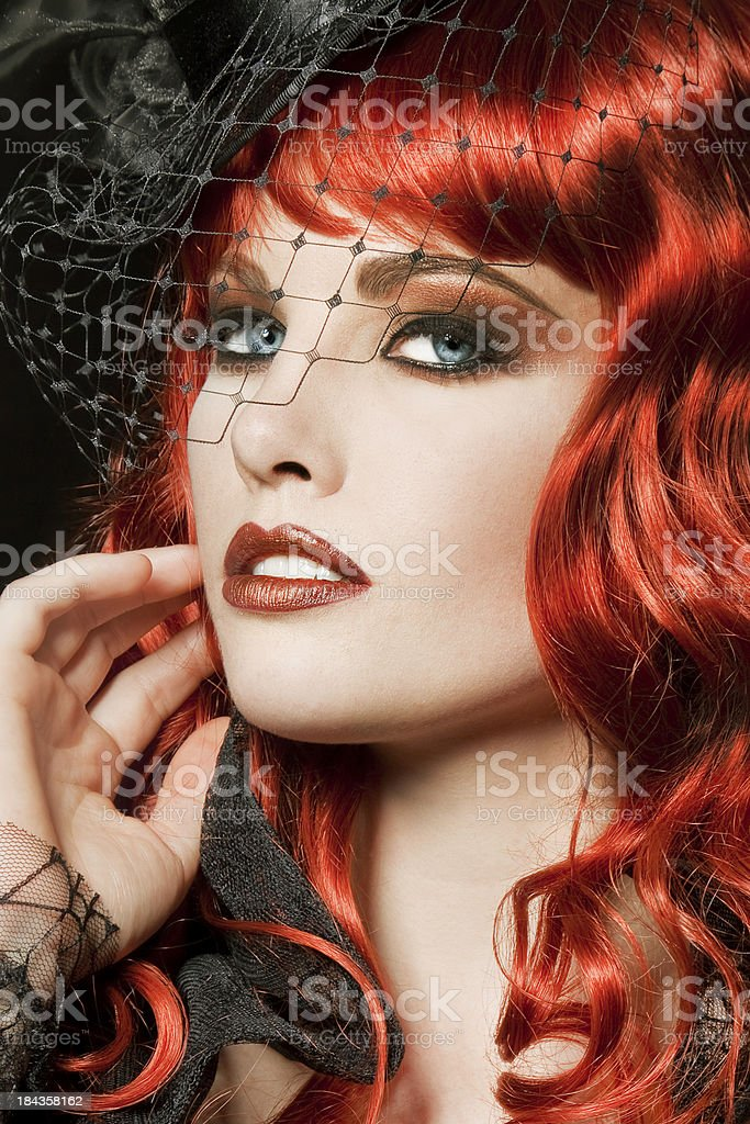 Burlesque Redhead royalty-free stock photo