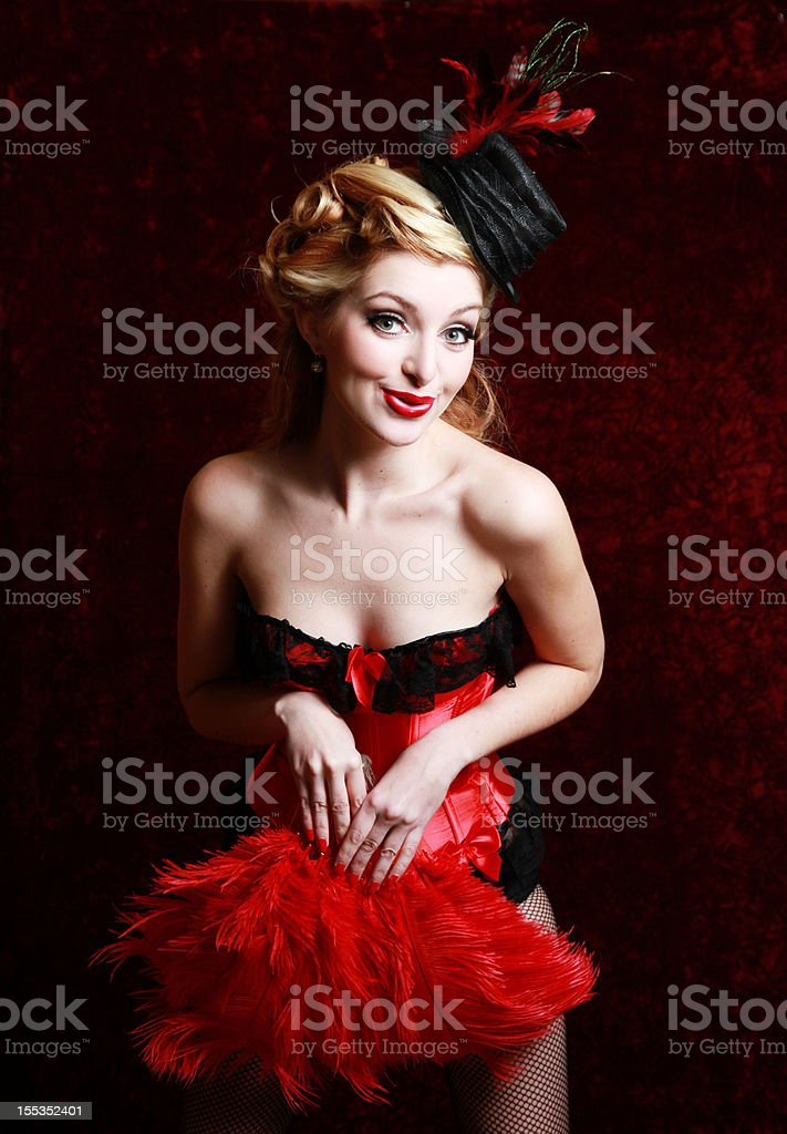 Burlesque woman in red stock photo