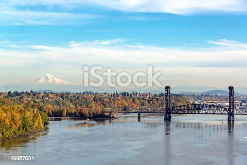 Burlington Northern Railroad Bridge and Mt. Hood seen from Portland, Oregon