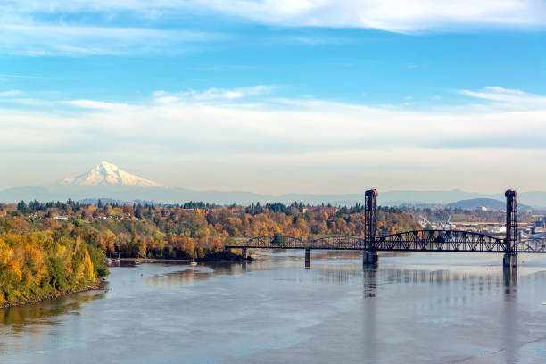 Burlington Northern Railroad Bridge and Mt. Hood stock photo