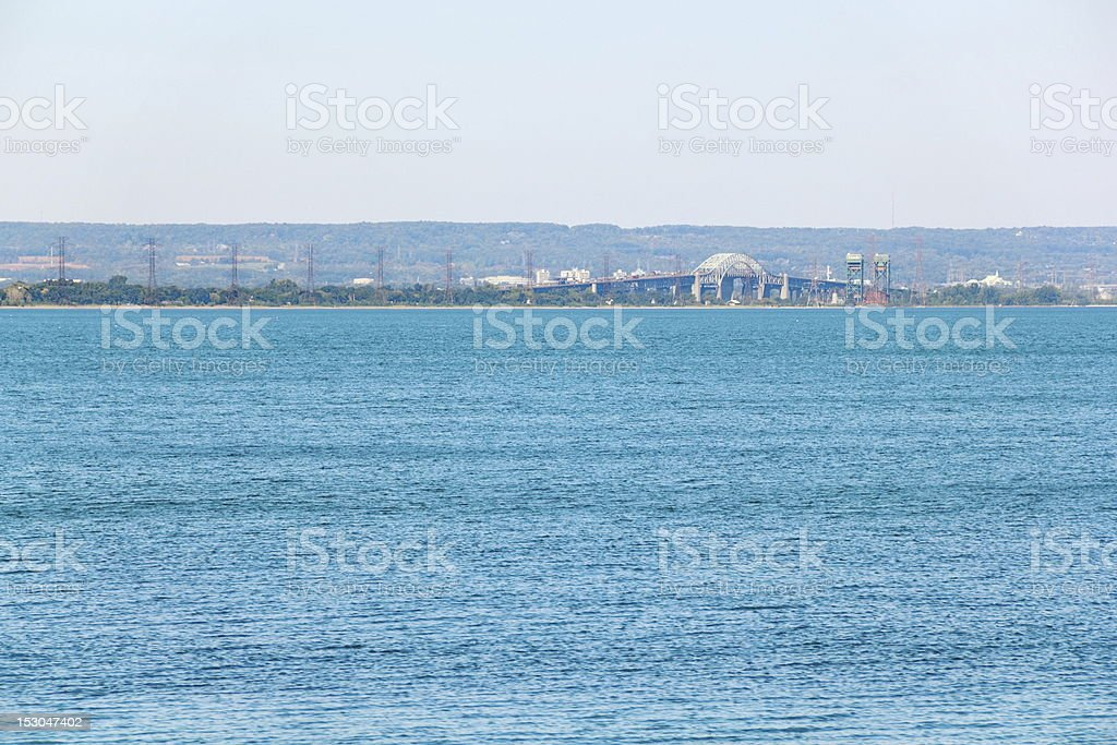 Burlington Skyway and Niagara Escarpment from the Water stock photo