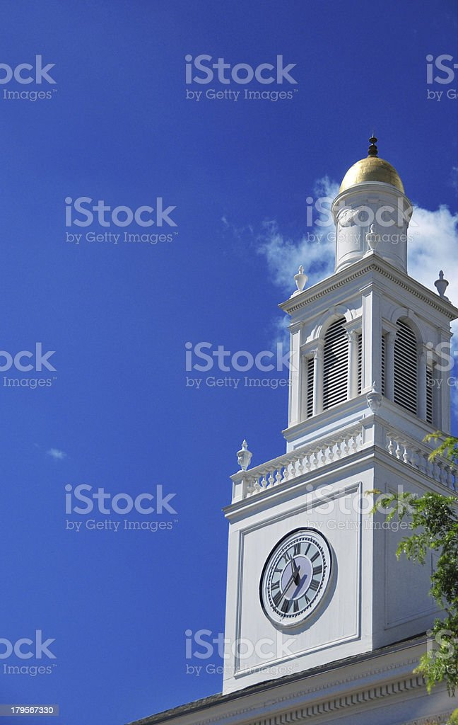 Burlington, Vermont, USA: clock tower of the City Hall stock photo