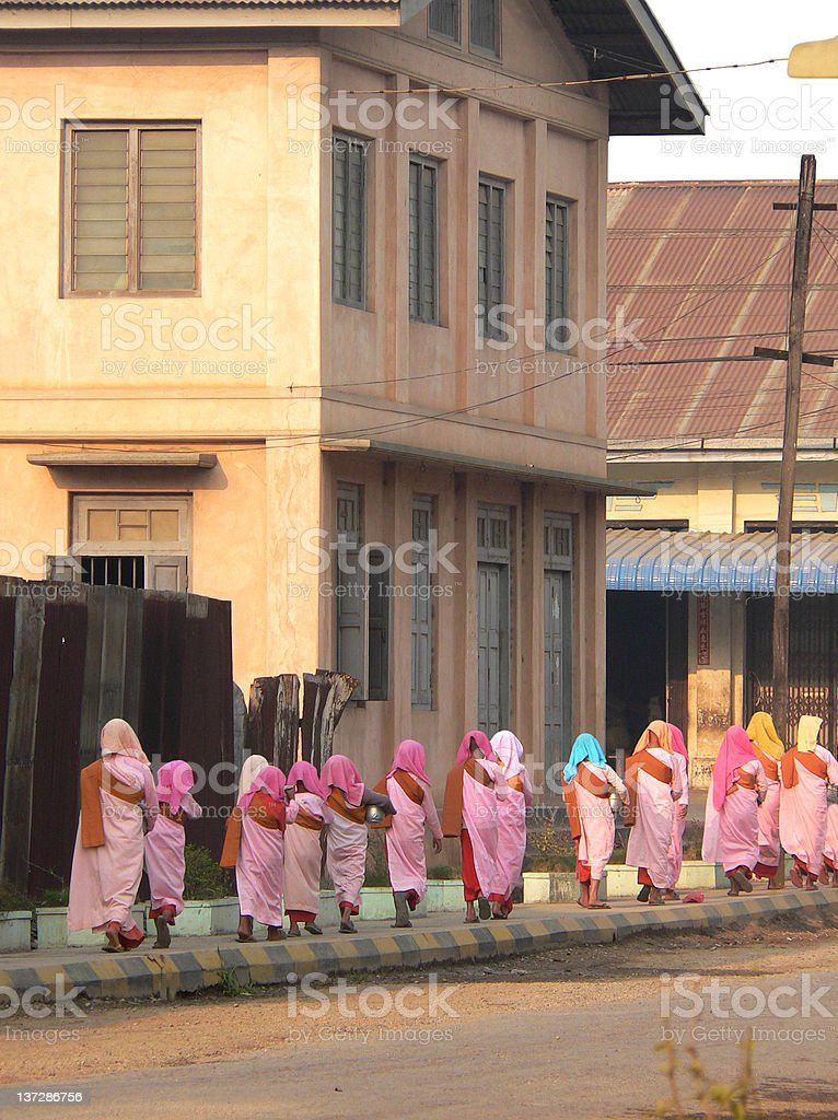Burma (Myanmar) Nuns Alms Collecting royalty-free stock photo