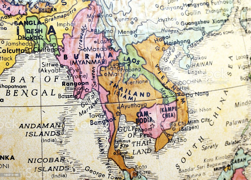 Burma on the map stock photo