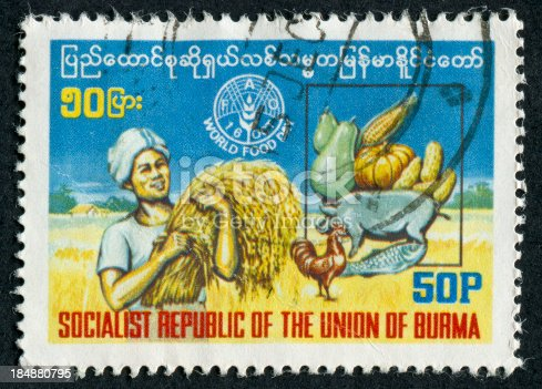 Cancelled Stamp From Burma (Now Myanmar) Featuring Food