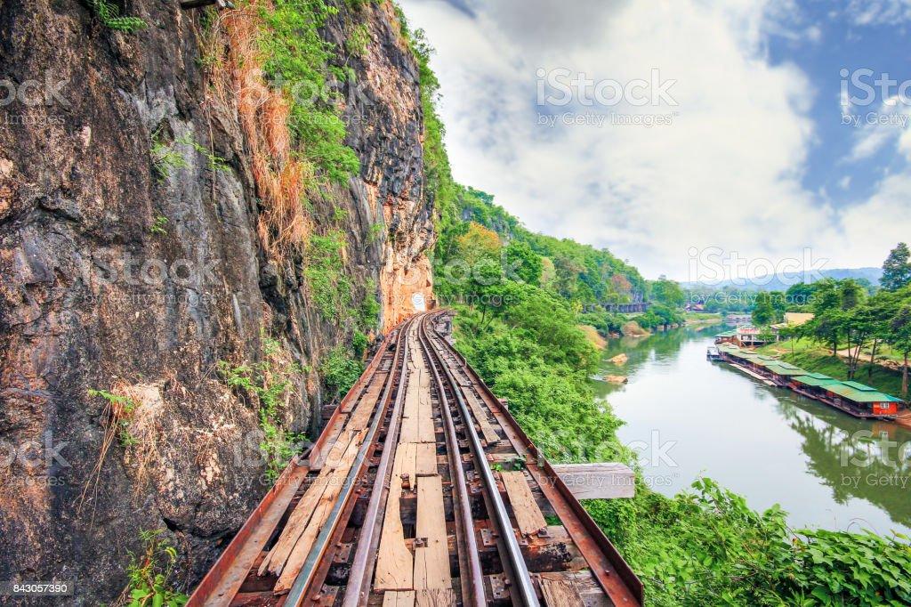 Burma-Siam Railway, Death Railway, Kanchanaburi, Thailand stock photo