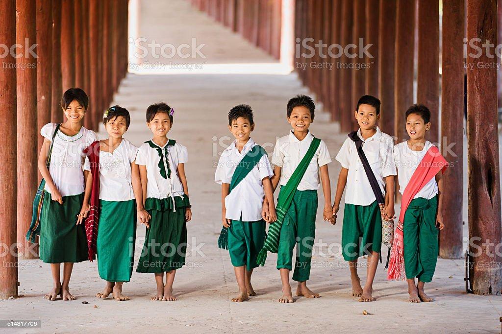Burmese children going to the school stock photo