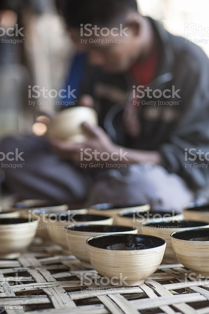 Burmese gift bowls royalty-free stock photo