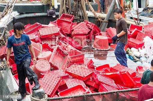 Burmese labour on a Thai fishing boat in Hua Hin, Thailand