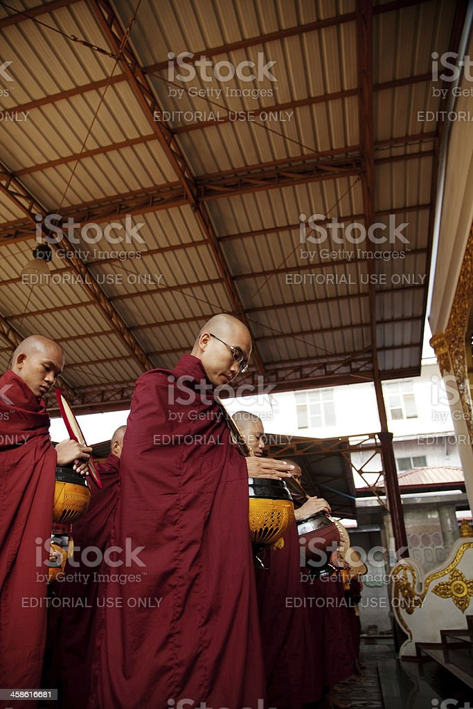 Burmese Monks Assembled at Buddhist Monastery royalty-free stock photo