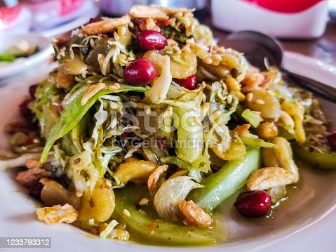 Burmese Tea-Leaf salad for lunch in  Tachileik, Myanmar