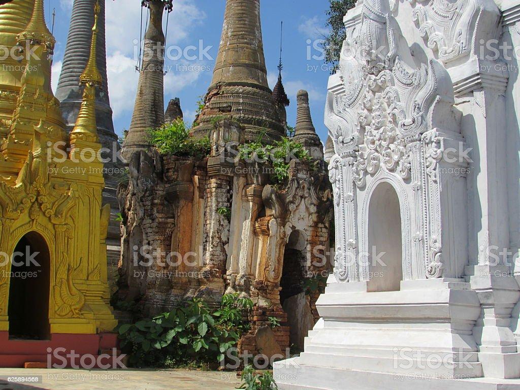 Burmesse Pagoda Types of Inle Lake Myamar stock photo
