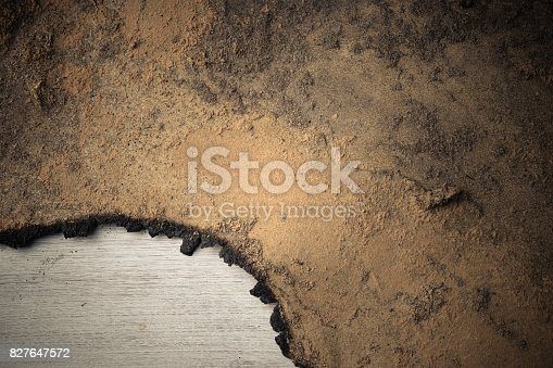istock Burn marks Old wooden floor background 827647572