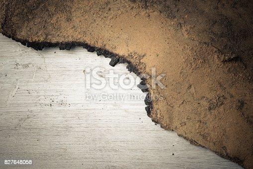 istock Burn marks Old wooden floor background 827648058