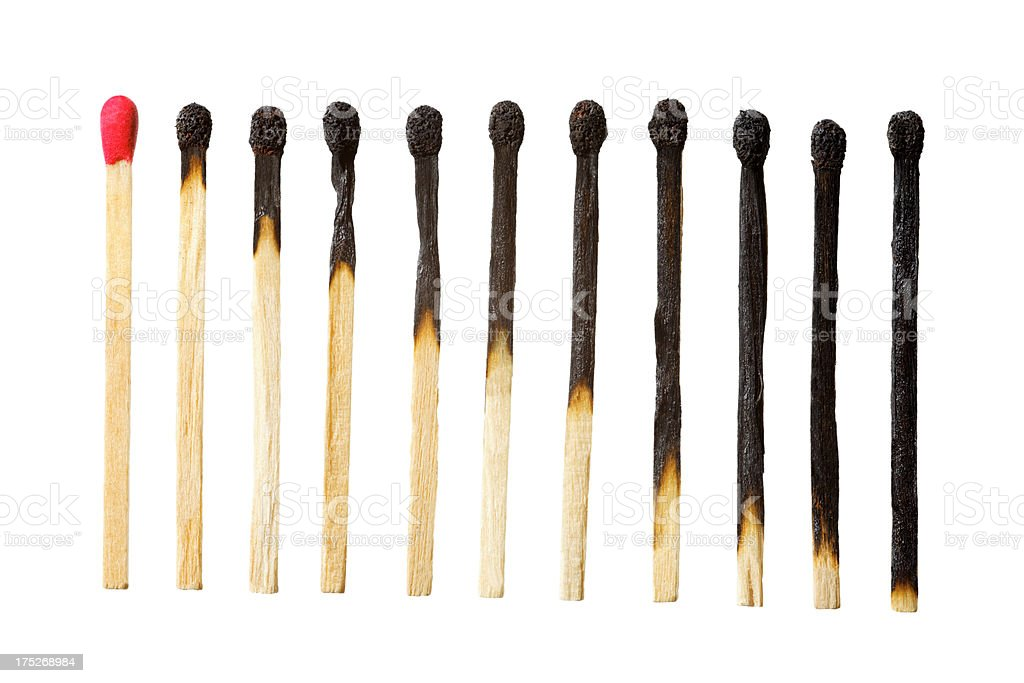 burn out of matches isolated on white stock photo