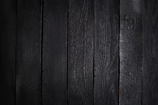 Black wooden wall background, texture of dark bark wood with old natural pattern for design art work