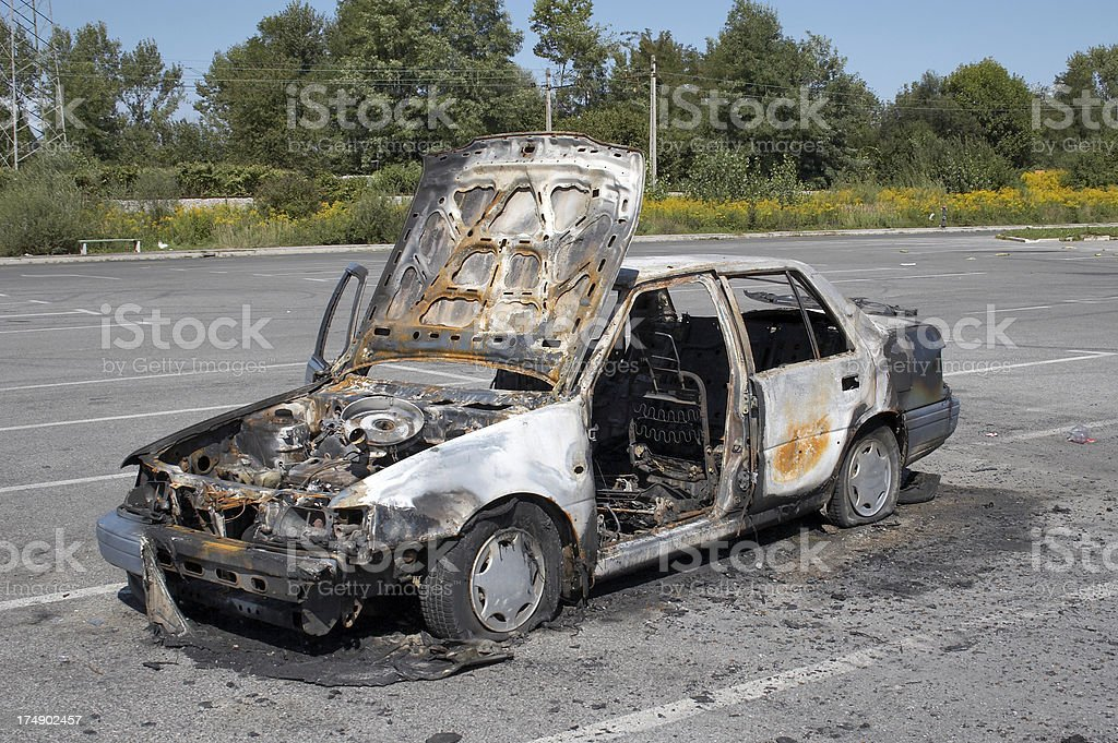 Burned abandoned car royalty-free stock photo