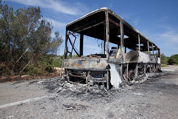 Burned bus stock photo