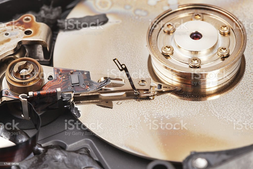 Burned Computer Hard Drive Platter and Arm royalty-free stock photo