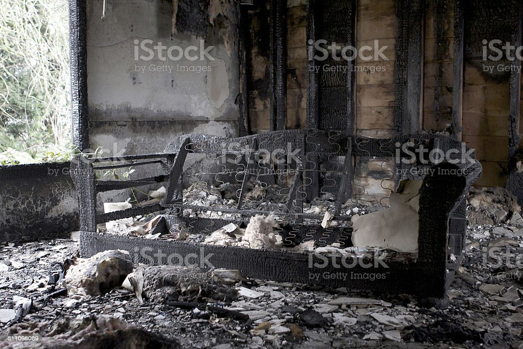 Burned down house stock photo