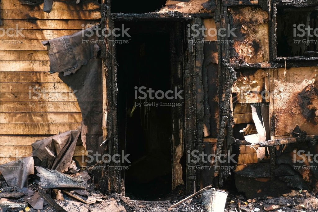 Burned Down Private Wooden House Outdoor Park Stock Photo - Download Image Now