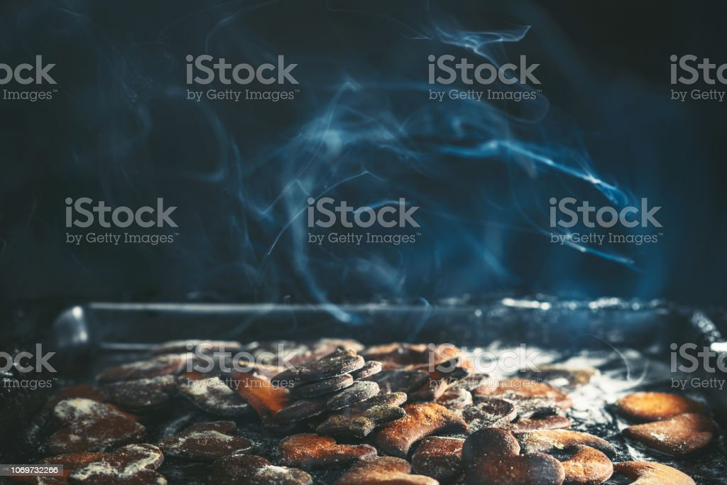 Burned gingerbread cookies stock photo