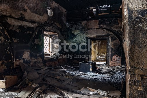 istock Burned interior of the old historical mansion in Astrakhan 872187080