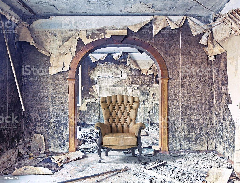 burned interior stock photo