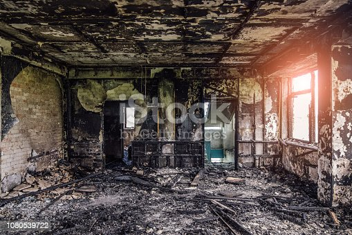 istock Burned interiors after fire of industrial or residential building. Fire consequences concept 1080539722