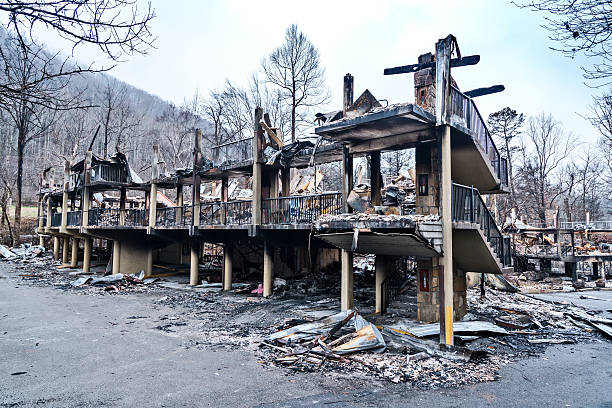 Burned motel after forest fires stock photo