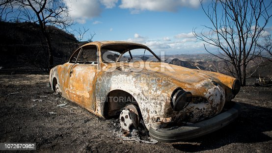An older Volkswagen car totally burned during the Woolsey fire in Malibu, California.