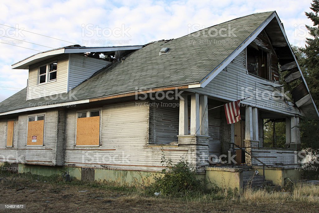 Burned out home stock photo