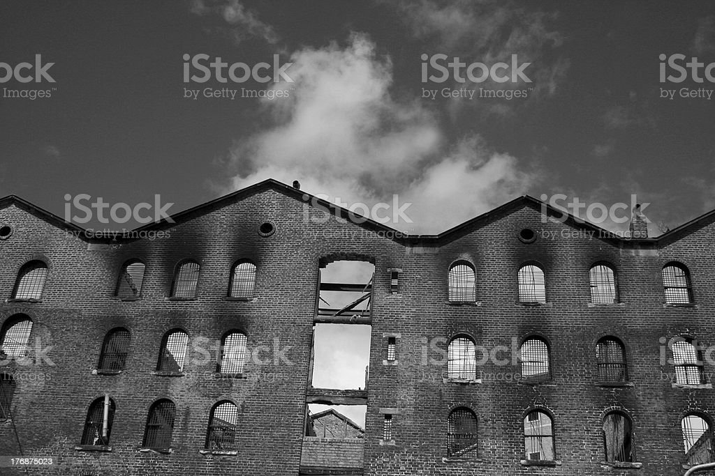 Burned out Warehouse royalty-free stock photo