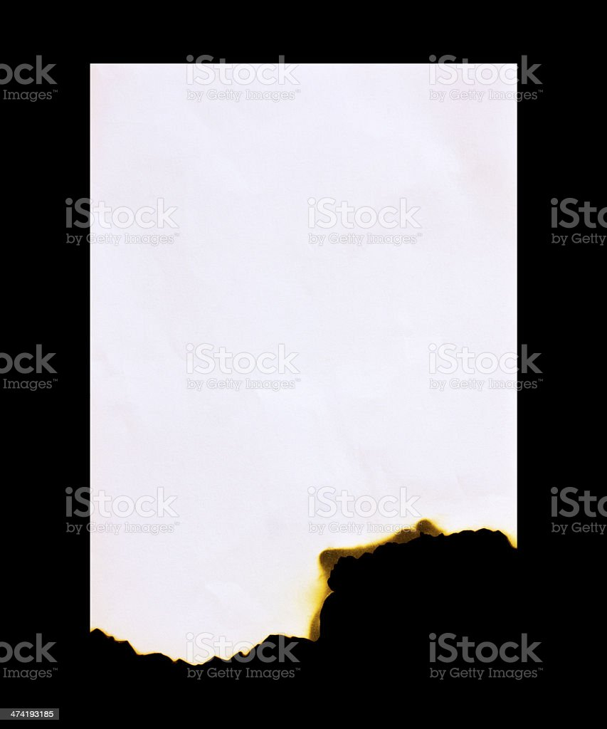 Burned paper on a black  background stock photo