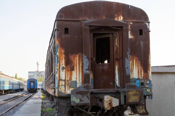 Burned Railcar Stock Photo