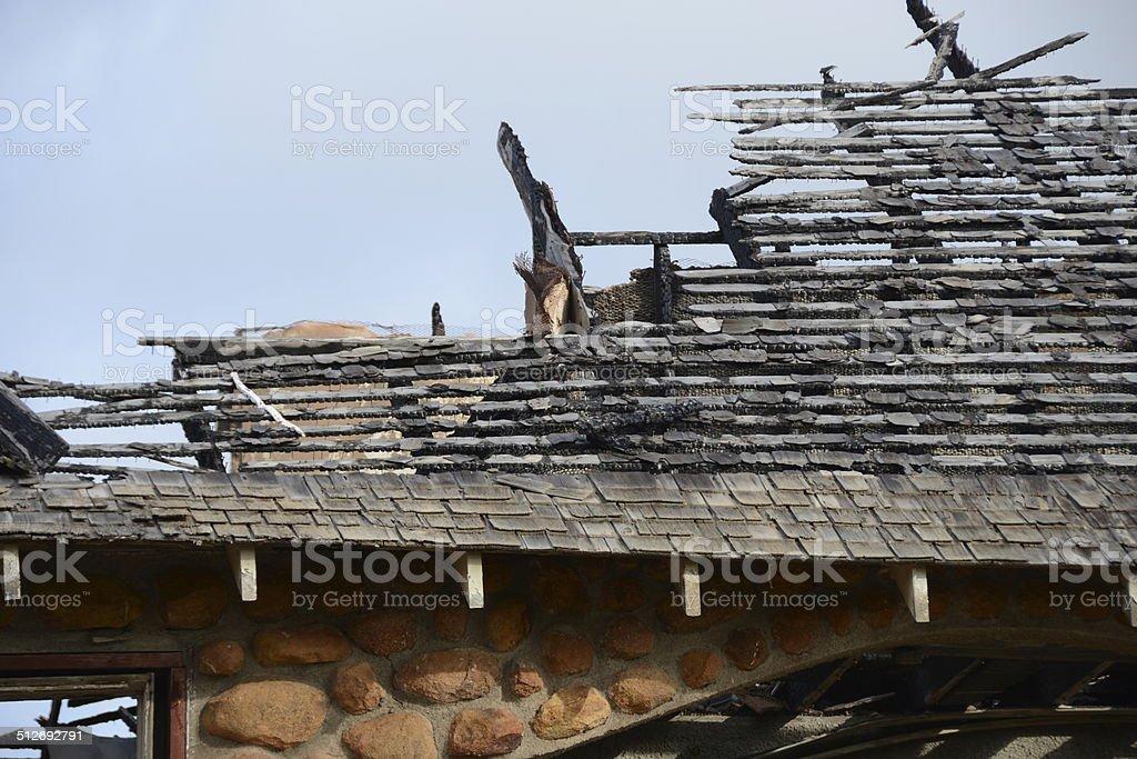 Burned Roof stock photo