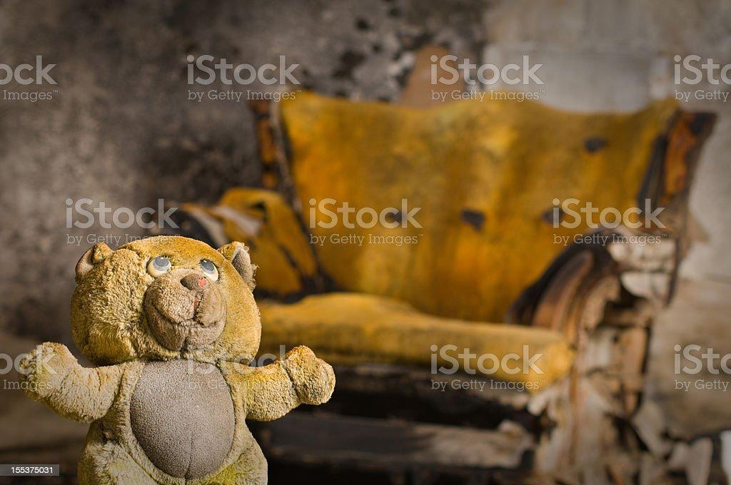 Burned teddy bear stock photo
