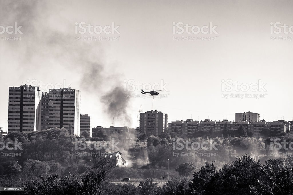 burned urban landscape stock photo