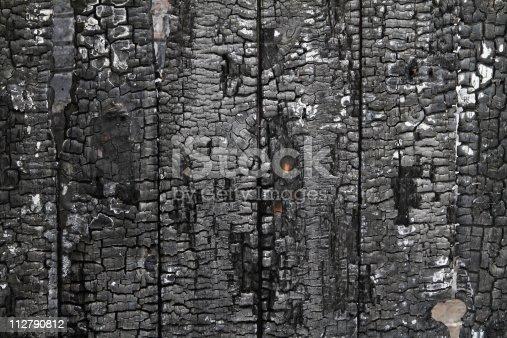 istock Burned wall of wood plate 112790812