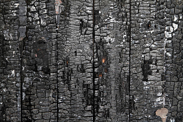 burned wall of wood plate - verbrand stockfoto's en -beelden