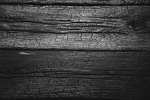 Burned wall of wooden planks